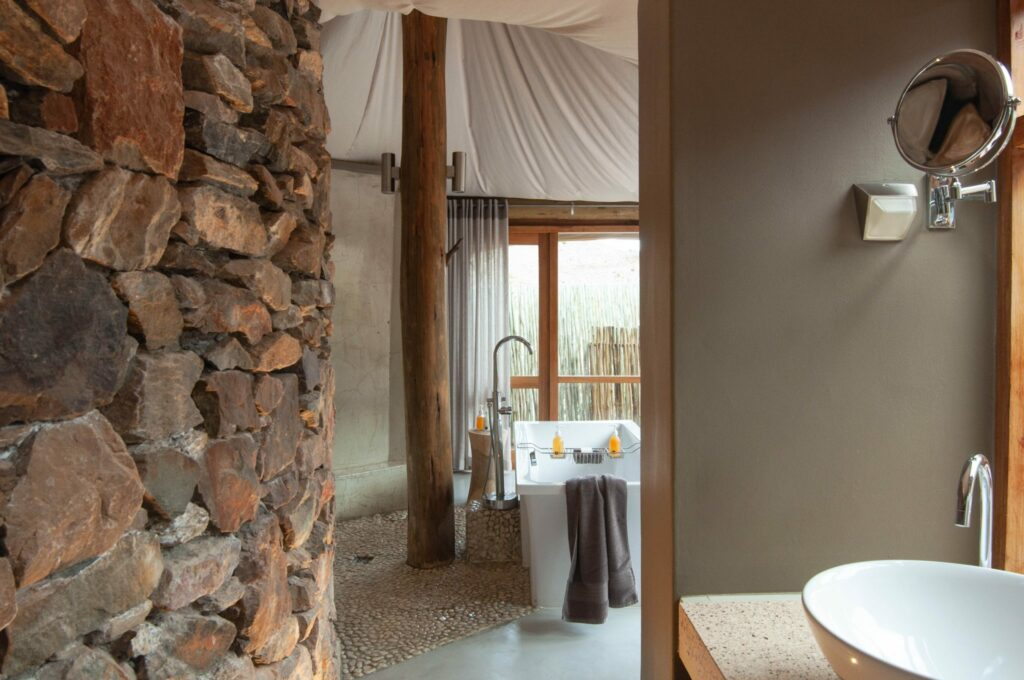 The rustic bathroom area in the suites at Dwyka Tented Camp at Sanbona Private Reserve