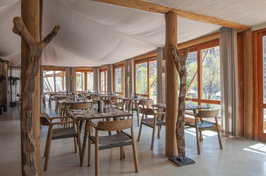 The dinning area in Dwyka Tented Camp at Sanbona Private Reserve