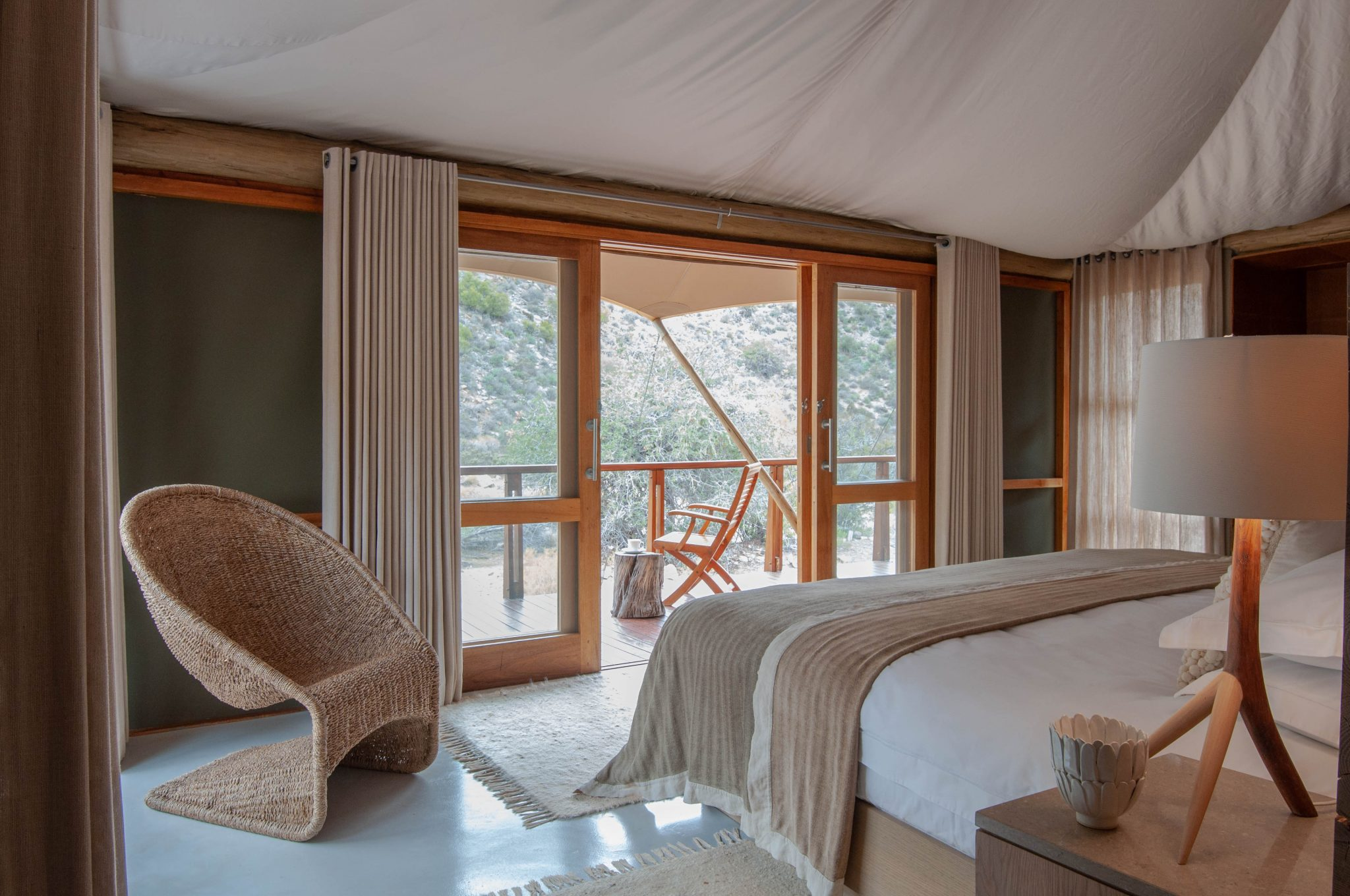 Inside the suite at Dwyka tented camp at Sanbona Private Reserve