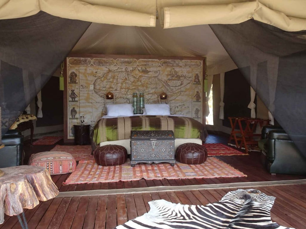 The amazing interors of the tents at Kuganha Tented camp in Inverdoorn Private Reserve