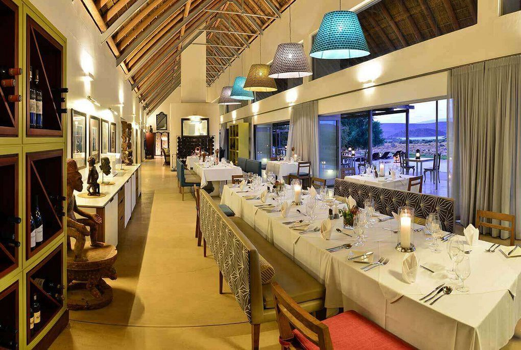 The intererio of the dinning area at Gondwan Lodge in the Sambona Private Reserve