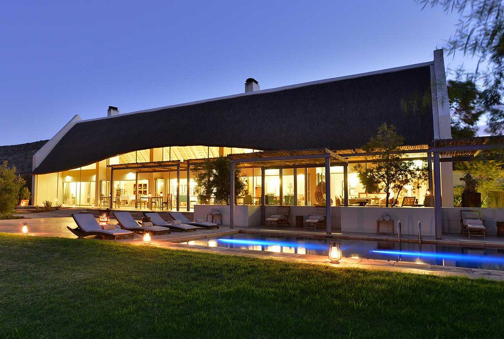 The pool area at Gondwana lodge in Sanbona Private Reserve