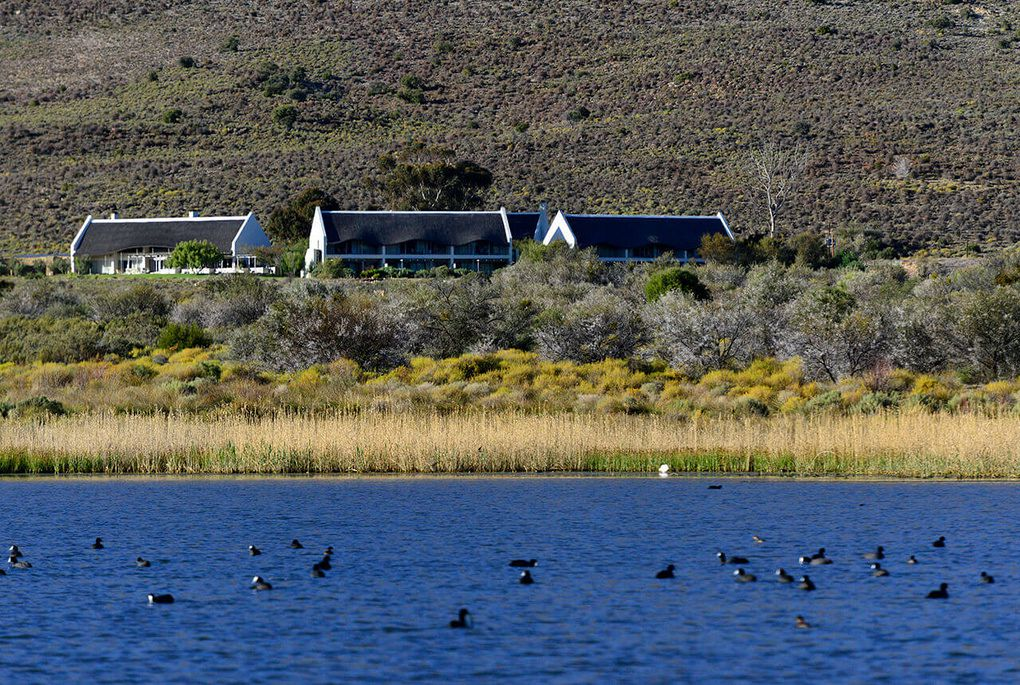 The view of Gondwana Lodge from the Bellair dam in Sanbona Private Reserve