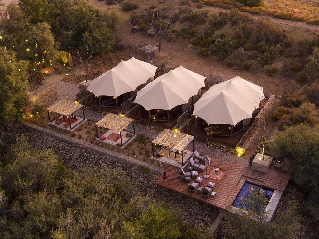 An aerial view of Kuganha Tented Camp at Inverdoorn Private Reserve