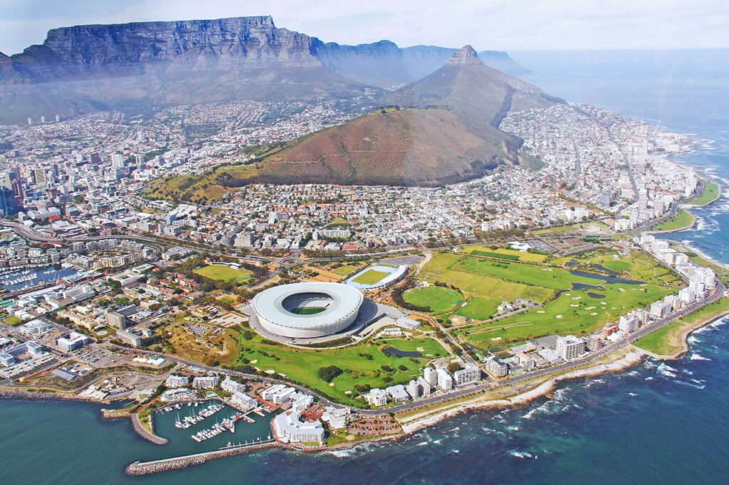 View of Cape Town from a helicopter
