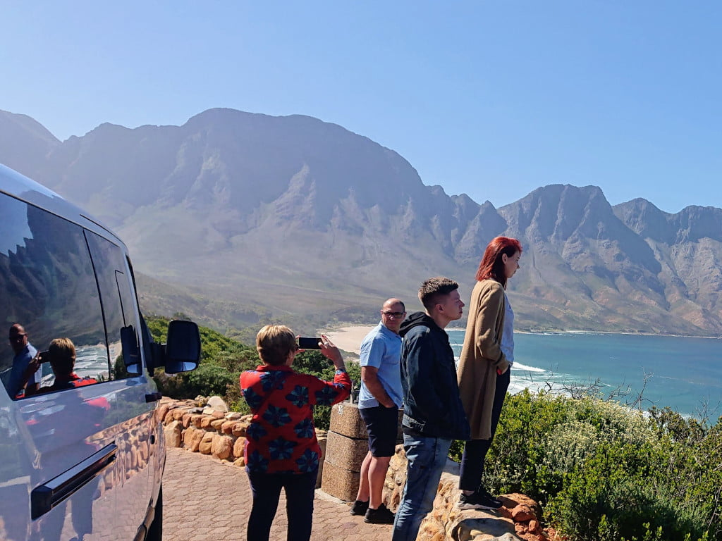 Viewing Surfers at Koel Baai on a custom itinerary tour to Hermanus along Clarence drive
